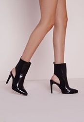 Missguided Cut Out Stiletto Heel Boots Black