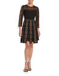 French Connection Embroidered Three Quarter Sleeve Fit And Flare Dress Black Nude
