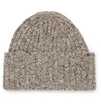 Drakes Drake's Ribbed Donegal Merino Wool Beanie Beige