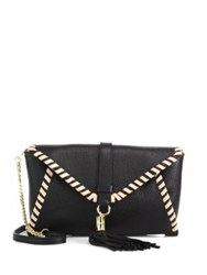 Milly Astor Whipstitch Leather Clutch Black Nude