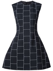 Christian Siriano Check Print Structured Dress Black