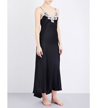 La Perla Maison Embroidered Silk Satin Nightgown Black