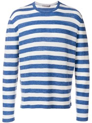 Ermanno Scervino Striped Longsleeveled Jumper Wool Silk Cashmere Blue