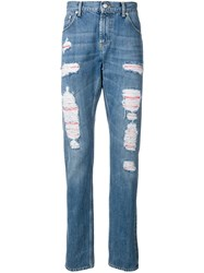 Alexander Mcqueen Distressed Layer Jeans Blue