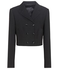 Dolce And Gabbana Virgin Wool Blend Cropped Jacket Black