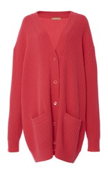 Michael Kors Long Sleeve Oversized Cardigan Pink