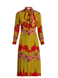 Gucci Iris And Poppy Print Silk Dress Yellow Multi