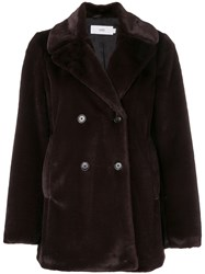 Closed Double Breasted Fitted Coat Brown
