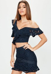 Missguided Navy Lace Frill Detail Mini Skirt