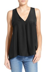 Women's Painted Threads Pleated Tank Black