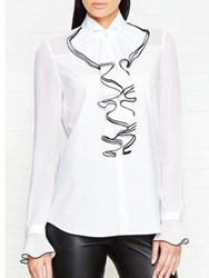 Karl Lagerfeld Sheer Solid Ruffle Blouse White