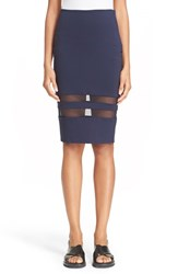 Women's T By Alexander Wang Mesh Stripe Ponte Knit Pencil Skirt