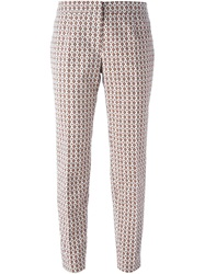 Tory Burch Cropped Jacquard Trousers Nude And Neutrals