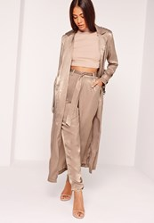 Missguided Buckle Duster Coat Brown Bronze