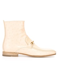 Versace Gold Detail Ankle Boots Nude And Neutrals