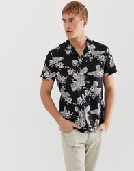 Selected Homme Revere Collar Shirt With All Over Bird Print In Black