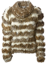 Christian Dior Vintage Striped Fur Sweater