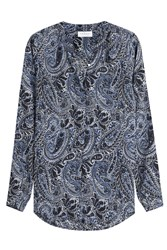 Velvet Printed Blouse Blue
