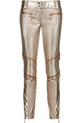 Just Cavalli Metallic Faux Textured Leather Skinny Pants Gold