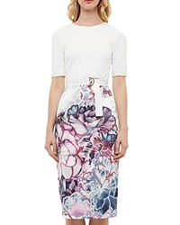 Ted Baker Illuminated Bloom Sheath Dress Mid Purple