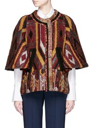 Chloe Ethnic Print Tapestry Cape Coat Multi Colour