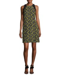 Carmen Marc Valvo Sleeveless Daisy Cocktail Dress Yellow Multicolor Lemon