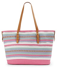 Saks Fifth Avenue Mixed Stripe Straw Tote
