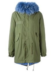 Mr And Mrs Italy Blue Trim Parka Coat Green