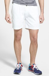 Men's Vintage 1946 'Snappers' Vintage Washed Elastic Waistband Shorts White