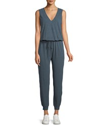 Lanston V Neck Sleeveless Drawstring Jumpsuit Blue
