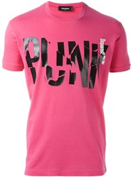 Dsquared2 'Punk' Print T Shirt Pink And Purple
