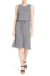 Petite Women's Caslon Sleeveless Cotton Blend Knit Drawstring Waist Dress Heather Grey Grey Stripe