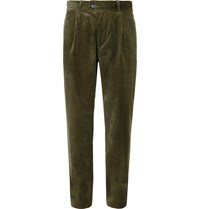 Oliver Spencer Pleated Stretch Cotton Corduroy Trousers Green