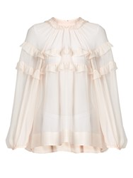 N 21 Ruffled Sheer Silk Blouse Light Pink