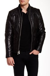 Rogue Double Zip Front Genuine Leather Jacket Black