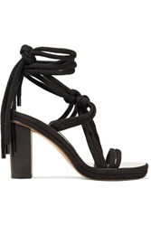 Isabel Marant Miana Lace Up Braided Cord Sandals Black