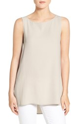 Eileen Fisher Petite Women's Long Bateau Neck Silk Shell Bone
