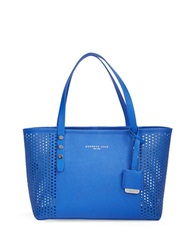 Kenneth Cole Dover Street Leather Perforated Tote Cobalt Silver