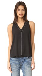 Cooper And Ella Pico Stitch Harper Double V Top Black