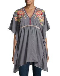 Johnny Was Cherise V Neck Embroidered Poncho Top Dark Gray