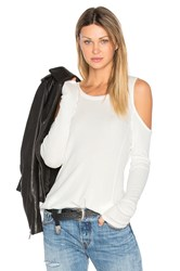 Bobi Modal Thermal Cold Shoulder Top White