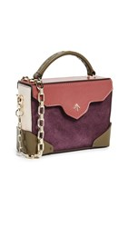 Manu Atelier Micro Bold Combo Top Handle Bag With Gold Chain Burgundy Khaki Redbole