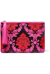 Mary Katrantzou Silk Blend Jacquard And Leather Clutch Pink