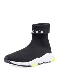 Balenciaga Speed High Top Stretch Knit Sock Sneakers White Black