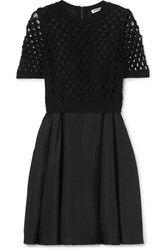 Kenzo Layered Satin And Crocheted Cotton Blend Dress Black