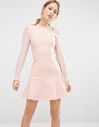 Finders Keepers Long Sleeve Flippy Dress Pale Pink