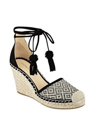 Ivanka Trump Wadia Suede D Orsay Espadrille Wedges Black White