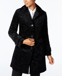 Jones New York Petite Textured Faux Fur Coat Black