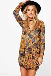 Boohoo Paisley Wrap Shirt Dress Mustard