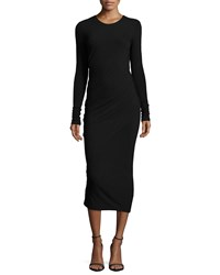 Donna Karan Cool Wool Jersey Long Sleeve Midi Dress Black